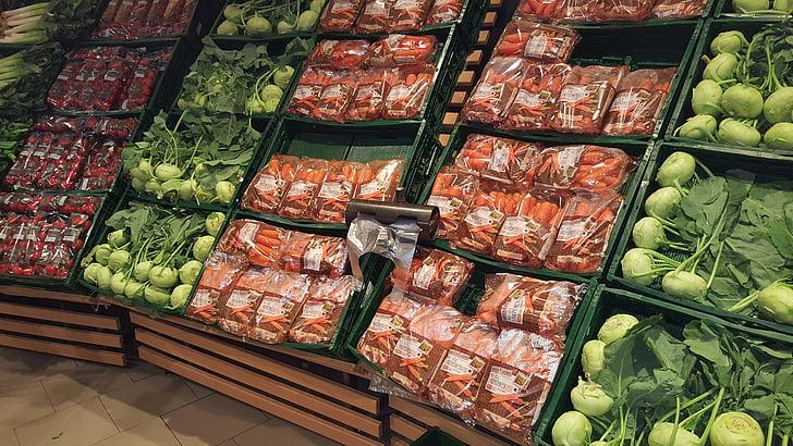 parada de verdures, compres, supermercat, mercat, béns