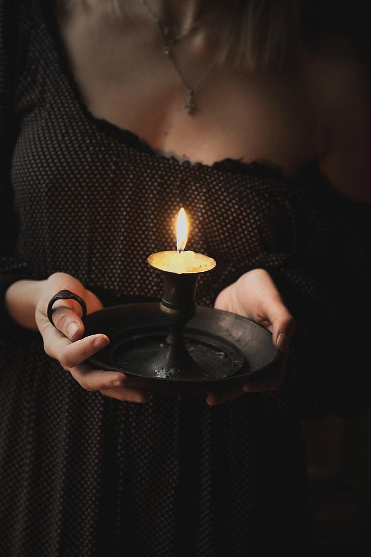 noia, Espelma, candeler, atractiu, mans, mama, vestit