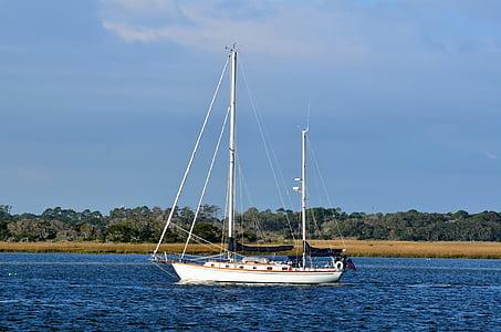 sail boat, yacht, boat, sea, water, sailboat, ocean