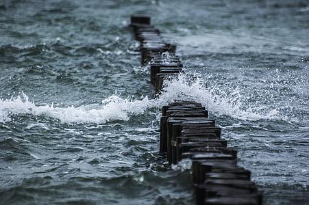 escullera, Mar, ona, l'aigua, esprai, tempesta, vent