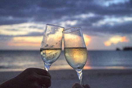 안경, 스파클링 와인, 건배, 태양이 세트, 저녁, 사모아, 허니문