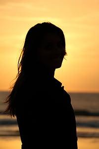 пляж, Захід сонця, НД, Помаранчеве небо, вечір, силует, море