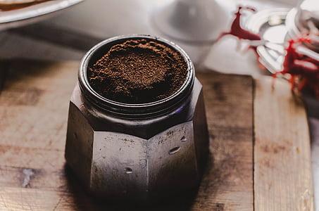 Crna, prah, siva, kontejner, kava, staklo, staklenku
