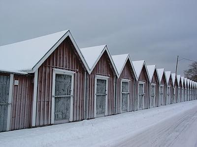 talvi, Lake, Fischer, Hut, kylmä, pankki, jäädytetty