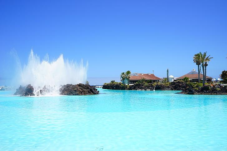 font, d'aigua, fonts, l'aigua, piscina, piscina, nedar
