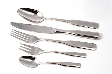 coberts, plats i coberts, forquilla, ganivet, brillant, coberteria, Cullera