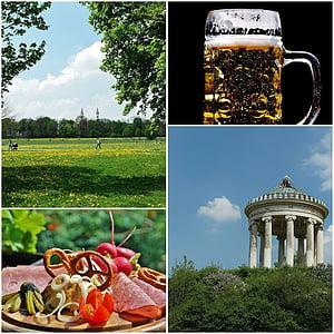 Engelse tuin, München, hoofdstad van de staat, Beieren, biertuin, Park, Monopteros