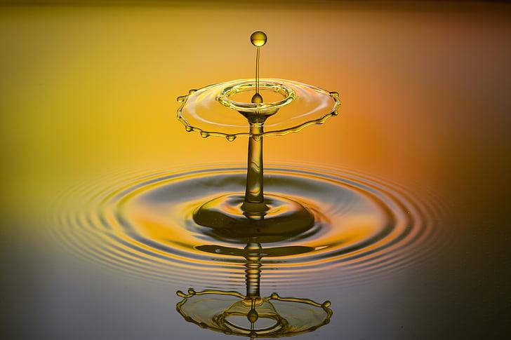 DROPP, spray, vatten, vätska, Orange, hög hastighet, droppe vatten