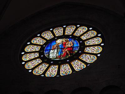 rosassa, finestra, vidrieres, sobre, Catedral de Basilea, Castell de Münster, Basilea