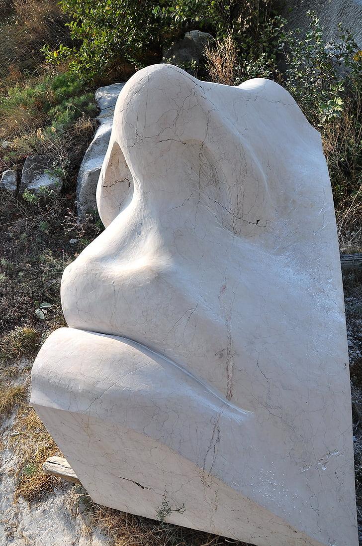 Socha, tváre, Carving, kameň, vedúci