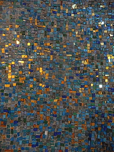 mosaic, abstract, golden, colorful, blue, pattern, texture