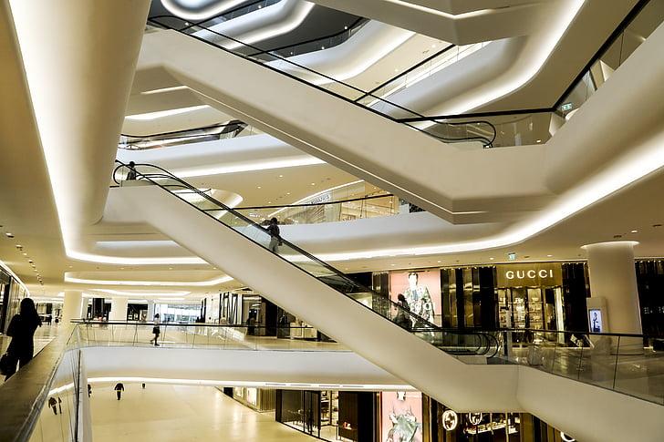 central embassy, mall, store, escalators, shop, bangkok, luxury