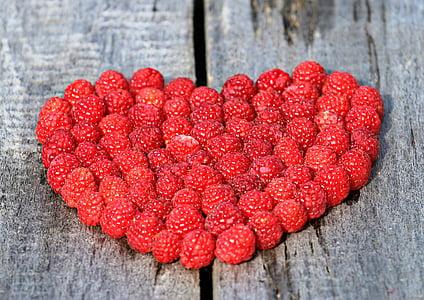 heart, raspberry, board, love, ripe, berry, red