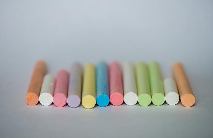 krita, färgglada, färger, färgglada, färger, ritning, skolan