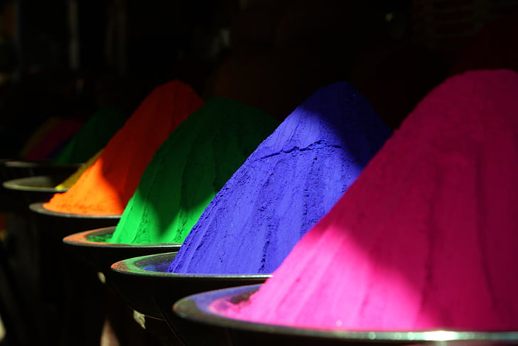 color, colored powder india, holipulver, colorful, blue, cultures, asia
