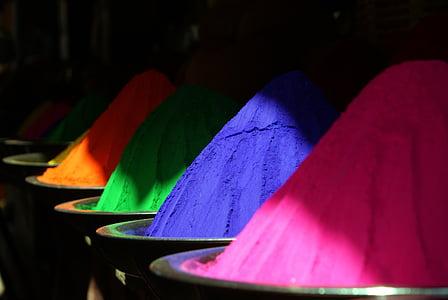 color, l'Índia en pols de color, holipulver, colors, blau, cultures, Àsia