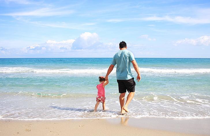 아버지, 딸, 비치, 바다, 가족, 아빠, 써니