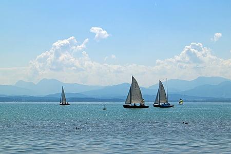 segelfartyg, segelbåt, Boot, sjön, blå, vatten, naturen