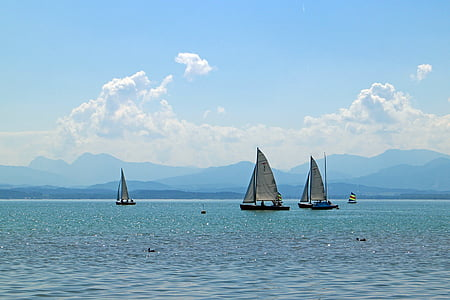 sailing vessel, sailing boat, boot, lake, blue, waters, nature