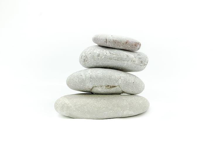 les pierres, Pierre, sur un fond blanc, Zen, méditation, tranquillité d'esprit, pile