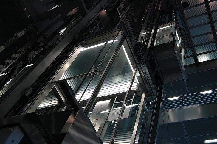 urban, city, buildings, metal, elevator, lights, modern