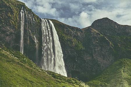 iarba, peisaj, munte, natura, pitoresc, cascade, cascadă