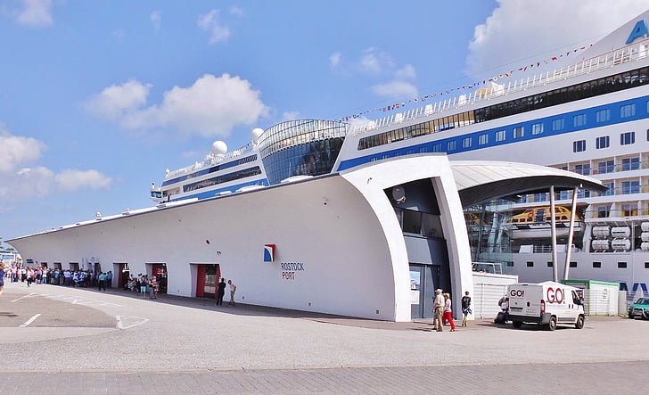 hamn, Aida, passagerare, clearance, ombord, Aida bella, Rostock