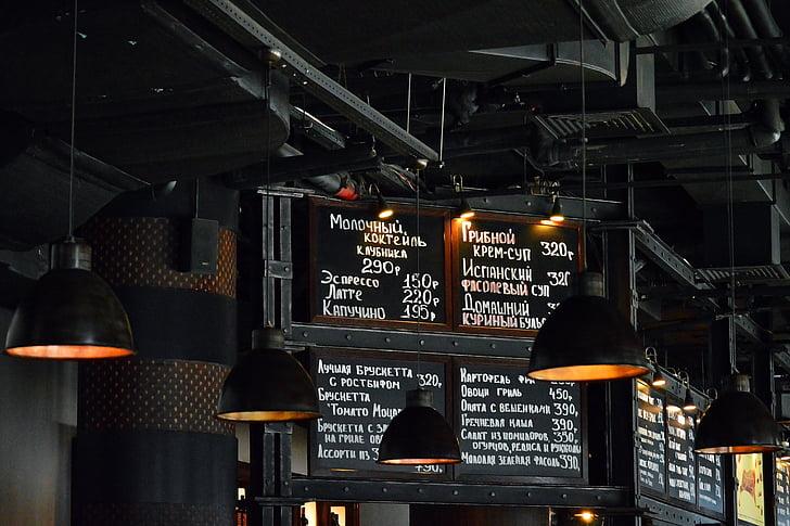 Restoran, menüü, tume, tööstus, disain, tuled, Lambid