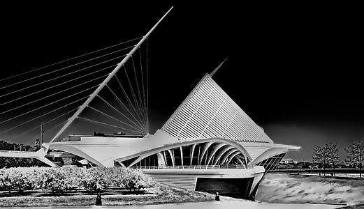 Musée, santiago calatrava, architecture, noir et blanc, Milwaukee, ville, urbain