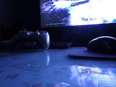 gaming, mouse, keyboard, monitor, night, computer, technology