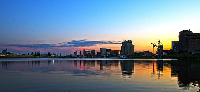 만 하 임, 라인 강, 오래 된 라인 강, 일몰, 강, 워터스, 산업