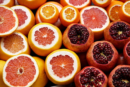 cítrics, taronges, magranes, aranja, llavors, fruita, fresc