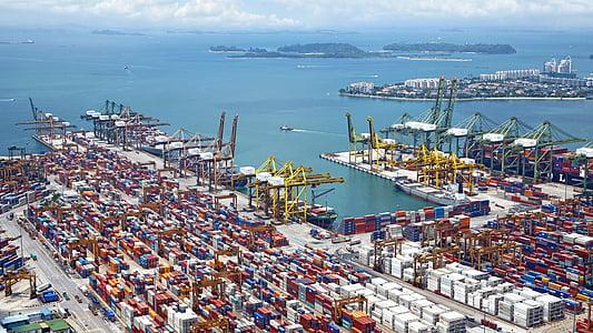 port, skibe, kraner, belastning, containere, havet, Sky
