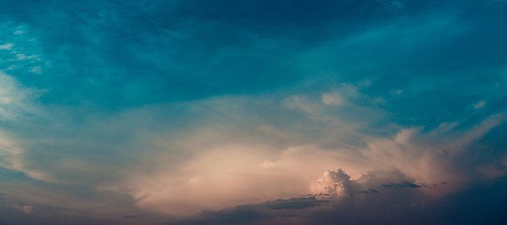 a la nit, el cel, núvols, posta de sol, blau, natura, bellesa en la naturalesa