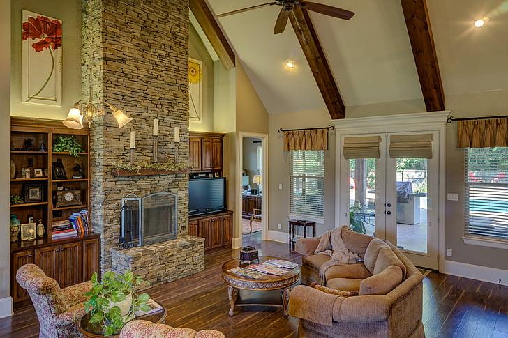 dzīvojamā istaba, kamīns, interjers, istabu, dzīvojamās istabas interjers, mājas, dzīves
