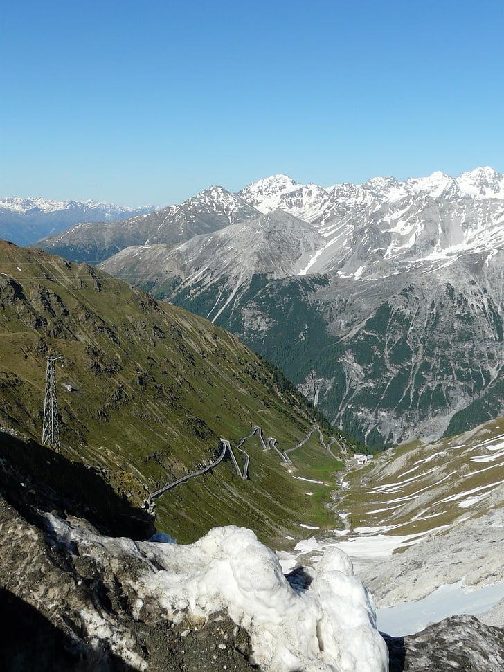 alpine, mountains, mountain landscape, snow, view, landscape, nature