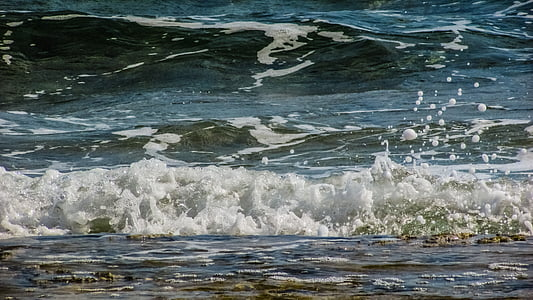 ola, burbujas, gotas, espuma de, aerosol, energía, agua