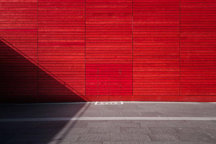seina, punane, tekstuur, muster, välju, metafoor, minimalistlik
