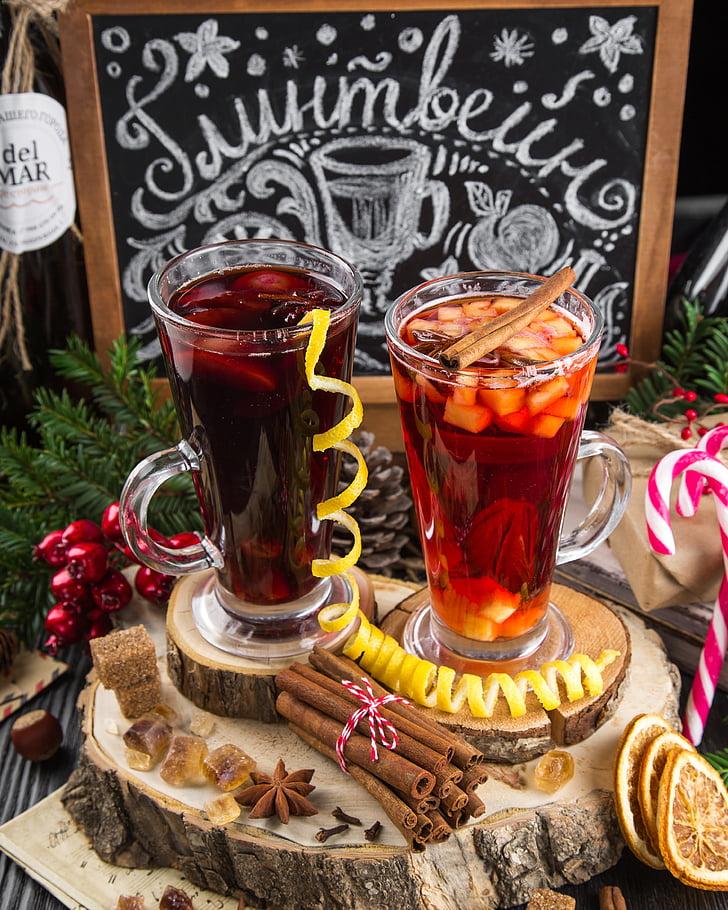 vahustatud veini shot, jook, veini, soojalt, talvel, maitsev, Vürtsikas