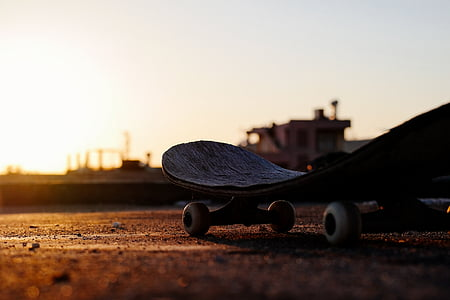 dawn, dusk, silhouette, skateboard, sunrise, sunset
