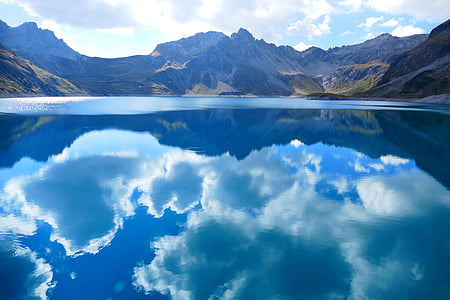lüner lake, clouds, mirroring, water, sky, blue, lake
