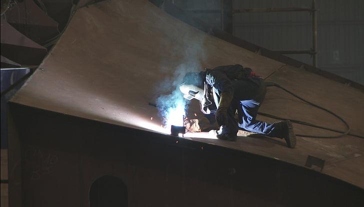 worker, welder, welding, construction, repair, flies