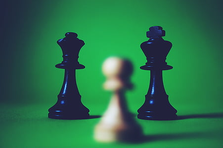 piece, chess, game, black, white, queen, contrast