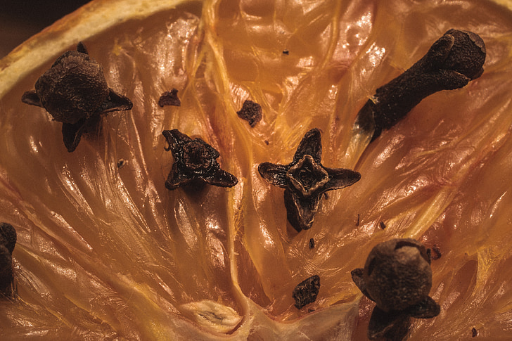 taronja tatxes, clau d'olor, : Syzygium aromaticum, espècies, repelent de mosquits, Nadal, fragància de sala