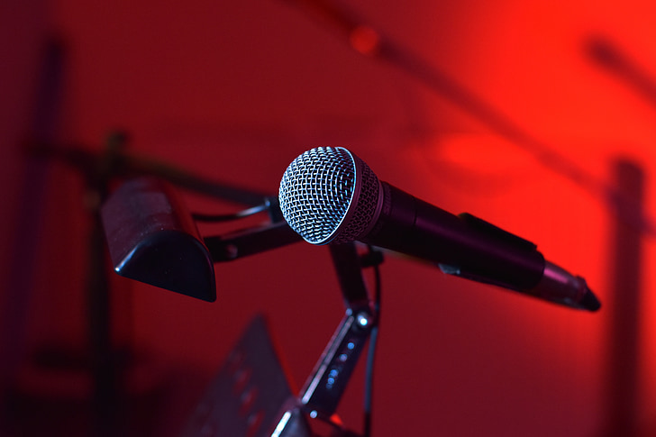 microphone, live music, band, music, stage