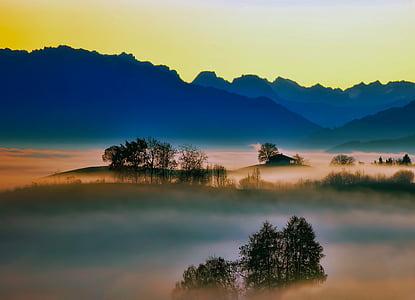 sunrise, fog, silhouettes, mountains, trees, dawn, morning