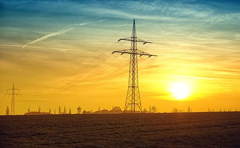 twilight, power lines, evening, evening sun, sun, current, abendstimmung