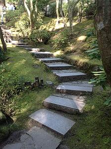 jardin japonais de Portland, escaliers, Pierre, chemin d'accès, botanique, Oregon
