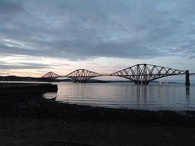 forth road railway bridge, railway bridge, scotland, dusk, rail, bridge, steel