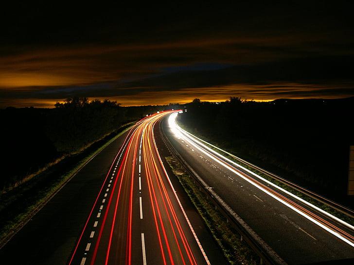 шосе, ніч, трафік, світло, рух, тривалого впливу, Вулиця